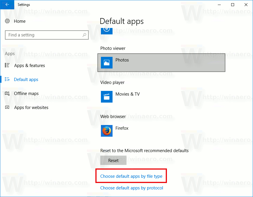 manually choose app file type windows 10